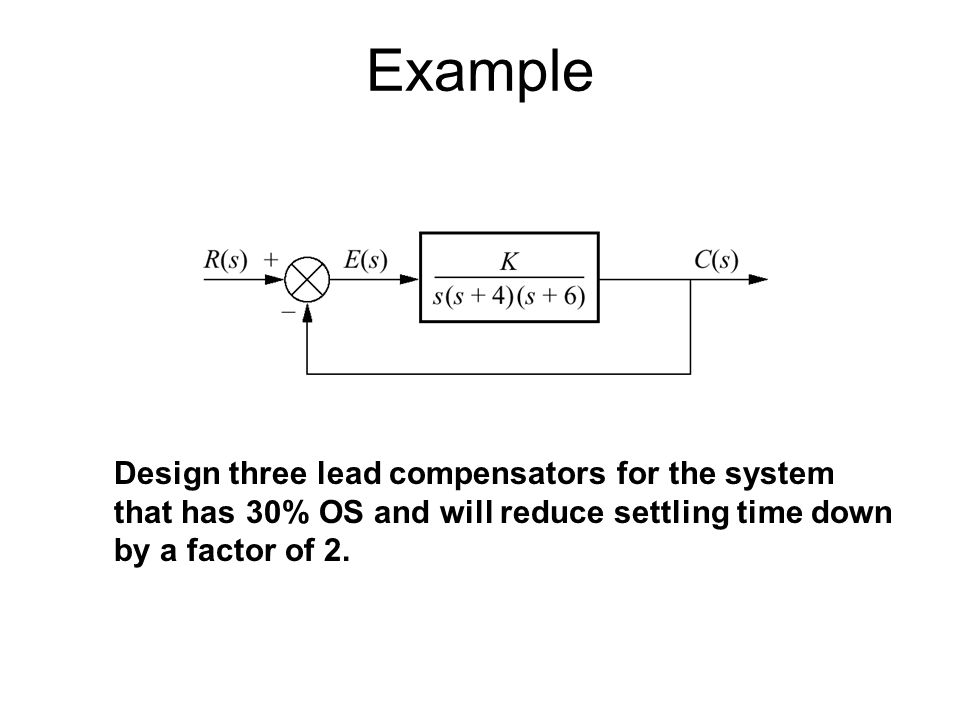 Example Design three lead compensators for the system that has 30% OS and will reduce settling time down by a factor of 2.