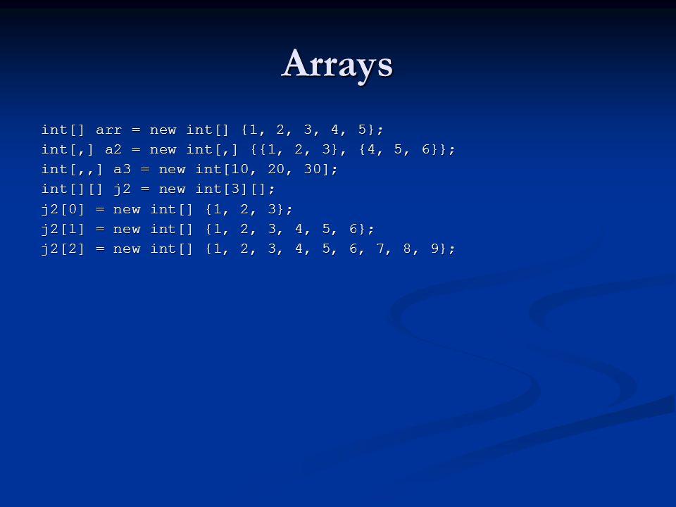 Arrays int[] arr = new int[] {1, 2, 3, 4, 5}; int[,] a2 = new int[,] {{1, 2, 3}, {4, 5, 6}}; int[,,] a3 = new int[10, 20, 30]; int[][] j2 = new int[3]