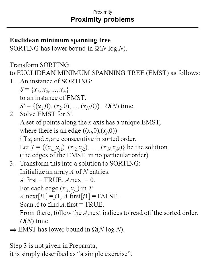 Euclidean minimum spanning tree SORTING has lower bound in  (N log N).