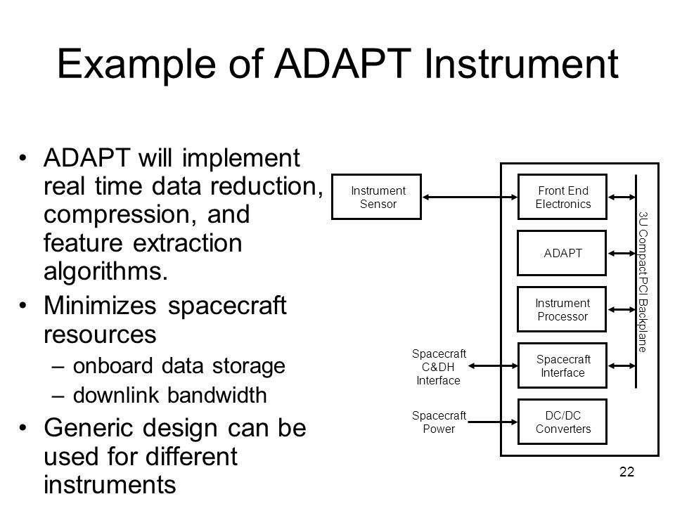 22 Example of ADAPT Instrument ADAPT will implement real time data reduction, compression, and feature extraction algorithms.