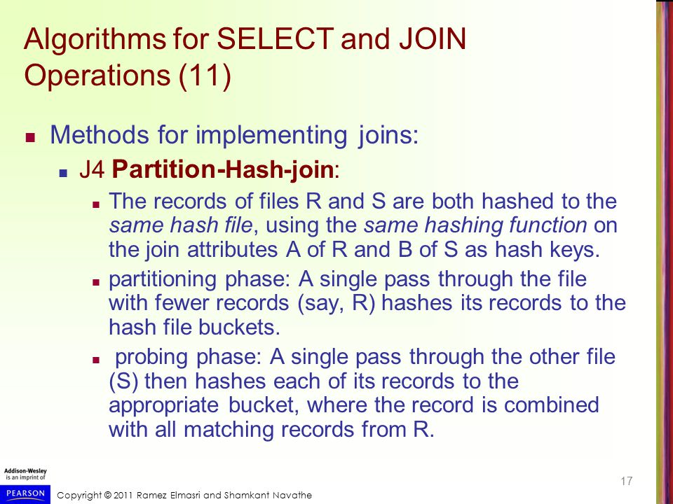 Copyright © 2011 Ramez Elmasri and Shamkant Navathe Algorithms for SELECT and JOIN Operations (11) Methods for implementing joins: J4 Partition- Hash-