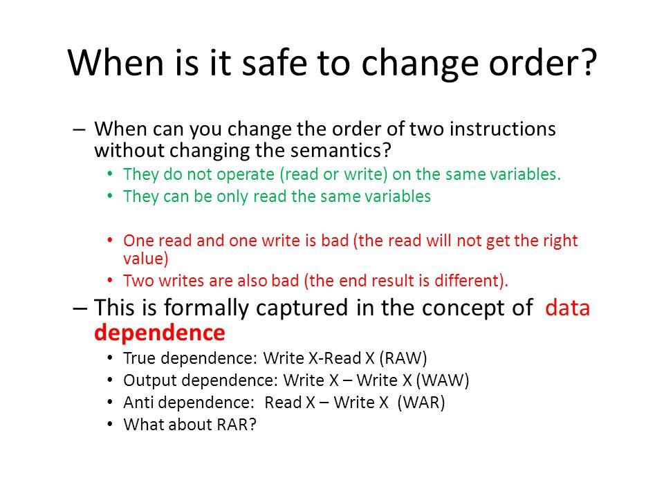 Unimodular transformations example: loop interchange For (I=0; I<n; I++) for (j=0; j < n; j++) a(I,j) = a(I-1, j) + 1; For (j=0; j<n; j++) for (i=0; i < n; i++) a(i,j) = a(i-1, j) + 1; Why is this transformation valid.