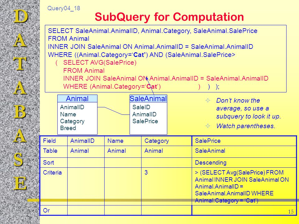 DATABASE 15 SubQuery for Computation  Don't know the average, so use a subquery to look it up.