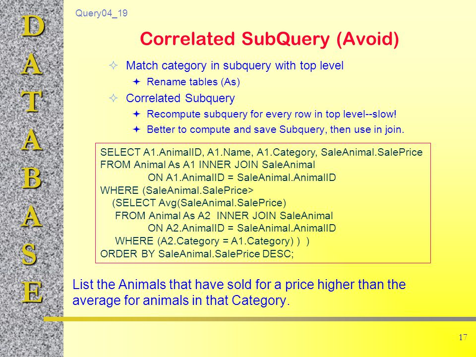 DATABASE 17 Correlated SubQuery (Avoid) List the Animals that have sold for a price higher than the average for animals in that Category.