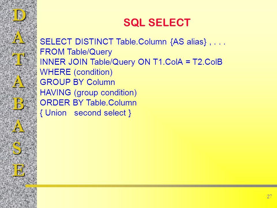 DATABASE 27 SQL SELECT SELECT DISTINCT Table.Column {AS alias},...