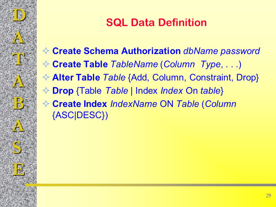 DATABASE 29 SQL Data Definition  Create Schema Authorization dbName password  Create Table TableName (Column Type,...)  Alter Table Table {Add, Column, Constraint, Drop}  Drop {Table Table | Index Index On table}  Create Index IndexName ON Table (Column {ASC|DESC})