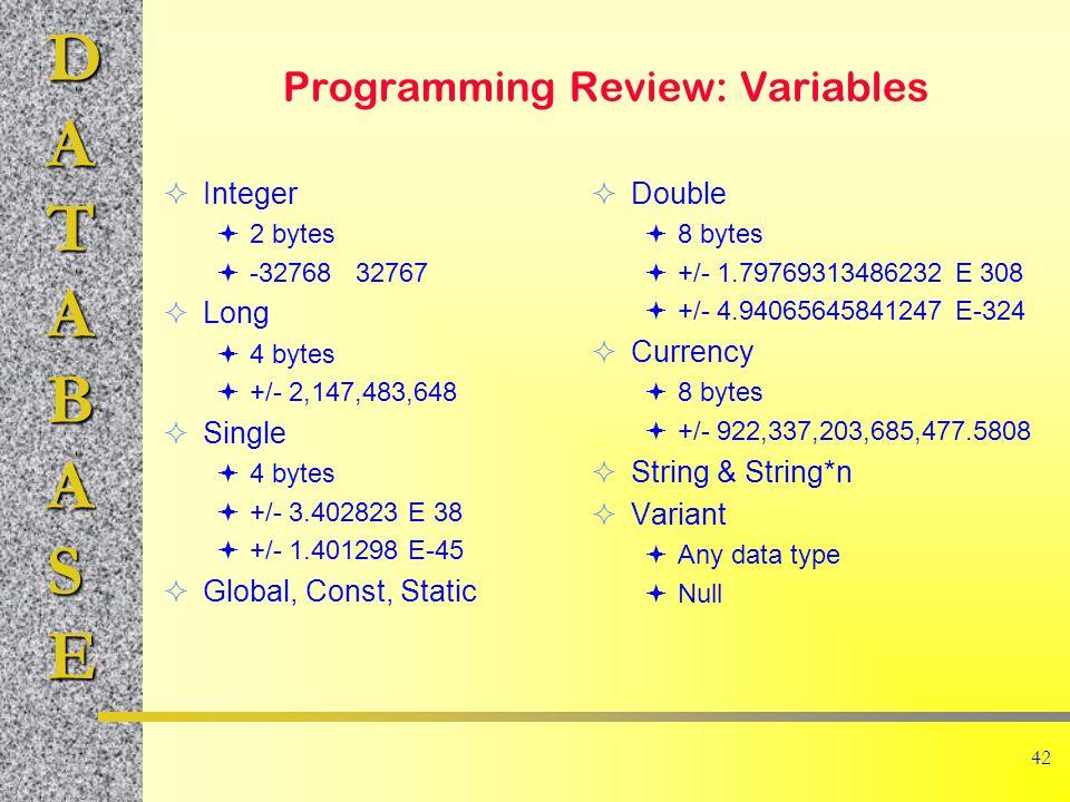DATABASE 42 Programming Review: Variables  Integer  2 bytes  -32768 32767  Long  4 bytes  +/- 2,147,483,648  Single  4 bytes  +/- 3.402823 E 38  +/- 1.401298 E-45  Global, Const, Static  Double  8 bytes  +/- 1.79769313486232 E 308  +/- 4.94065645841247 E-324  Currency  8 bytes  +/- 922,337,203,685,477.5808  String & String*n  Variant  Any data type  Null