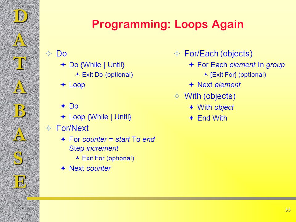 DATABASE 55 Programming: Loops Again  Do  Do {While | Until} Exit Do (optional)  Loop  Do  Loop {While | Until}  For/Next  For counter = start To end Step increment Exit For (optional)  Next counter  For/Each (objects)  For Each element In group [Exit For] (optional)  Next element  With (objects)  With object  End With