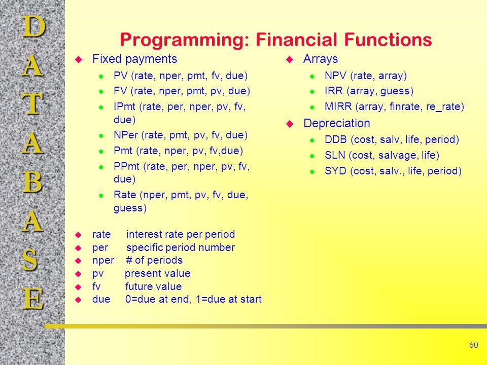 DATABASE 60 Programming: Financial Functions u Fixed payments l PV (rate, nper, pmt, fv, due) l FV (rate, nper, pmt, pv, due) l IPmt (rate, per, nper, pv, fv, due) l NPer (rate, pmt, pv, fv, due) l Pmt (rate, nper, pv, fv,due) l PPmt (rate, per, nper, pv, fv, due) l Rate (nper, pmt, pv, fv, due, guess) u rate interest rate per period u per specific period number u nper # of periods u pv present value u fv future value u due 0=due at end, 1=due at start u Arrays l NPV (rate, array) l IRR (array, guess) l MIRR (array, finrate, re_rate) u Depreciation l DDB (cost, salv, life, period) l SLN (cost, salvage, life) l SYD (cost, salv., life, period)