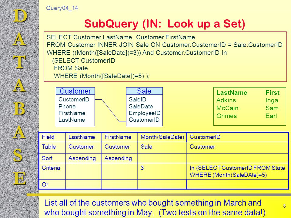 DATABASE 9 SubQuery (ANY, ALL)  Any: value is compared to each item in the list.