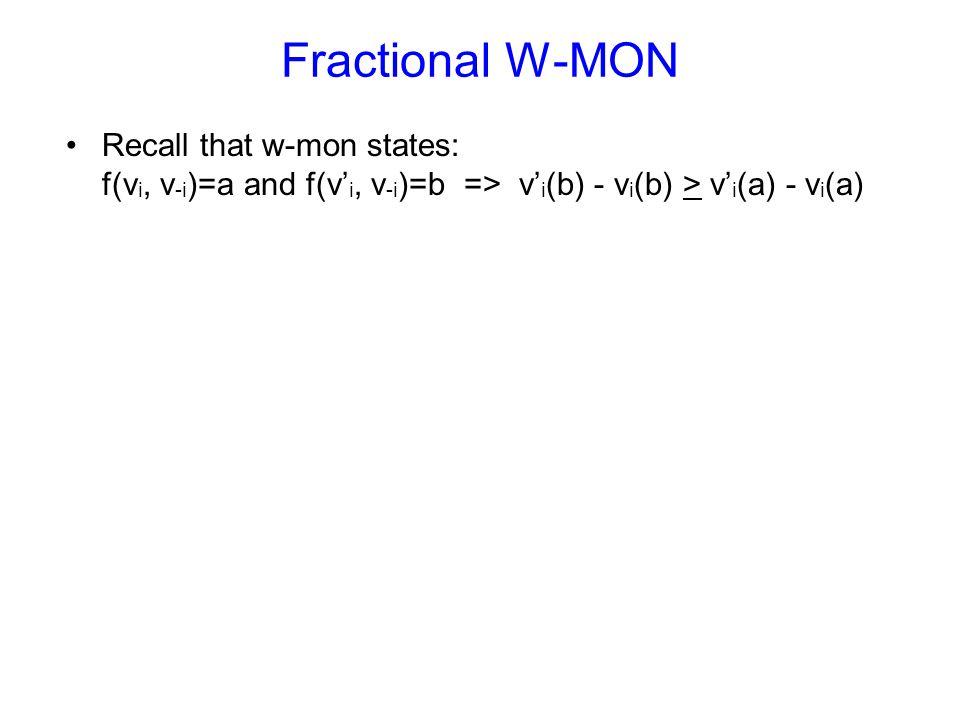 Fractional W-MON Recall that w-mon states: f(v i, v -i )=a and f(v' i, v -i )=b => v' i (b) - v i (b) > v' i (a) - v i (a)