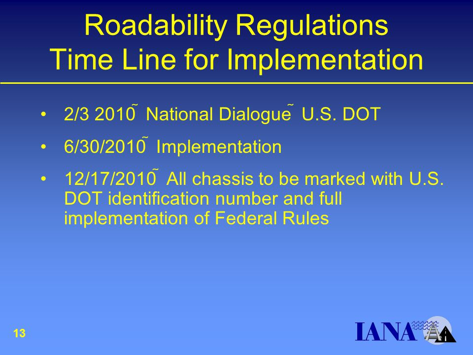 Roadability Regulations Time Line for Implementation 2/3 2010  National Dialogue  U.S.