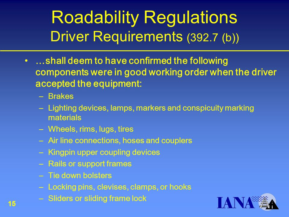Roadability Regulations Driver Requirements (392.7 (b)) …shall deem to have confirmed the following components were in good working order when the driver accepted the equipment: –Brakes –Lighting devices, lamps, markers and conspicuity marking materials –Wheels, rims, lugs, tires –Air line connections, hoses and couplers –Kingpin upper coupling devices –Rails or support frames –Tie down bolsters –Locking pins, clevises, clamps, or hooks –Sliders or sliding frame lock 15