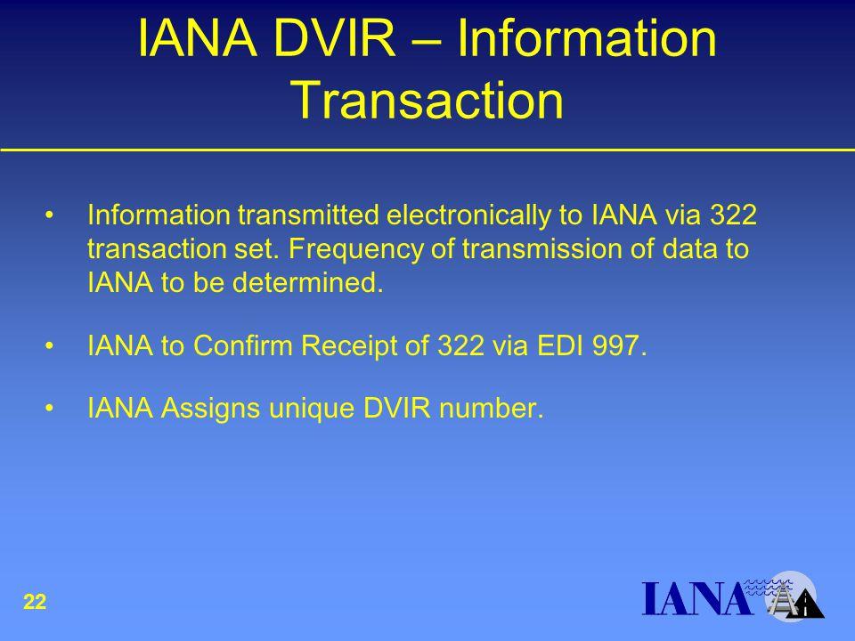 IANA DVIR – Information Transaction Information transmitted electronically to IANA via 322 transaction set.