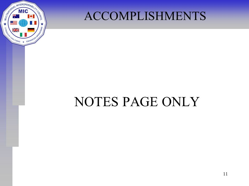 11 ACCOMPLISHMENTS NOTES PAGE ONLY