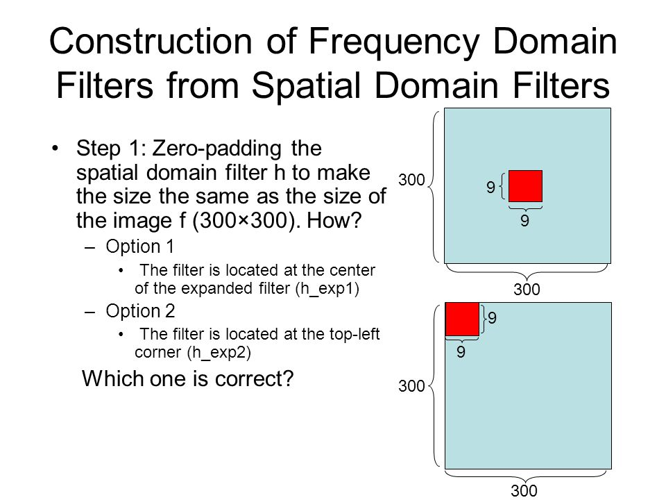 Construction of Frequency Domain Filters from Spatial Domain Filters Step 1: Zero-padding the spatial domain filter h to make the size the same as the