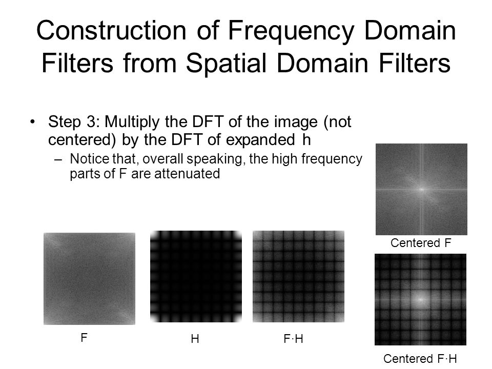 Construction of Frequency Domain Filters from Spatial Domain Filters Step 3: Multiply the DFT of the image (not centered) by the DFT of expanded h –No