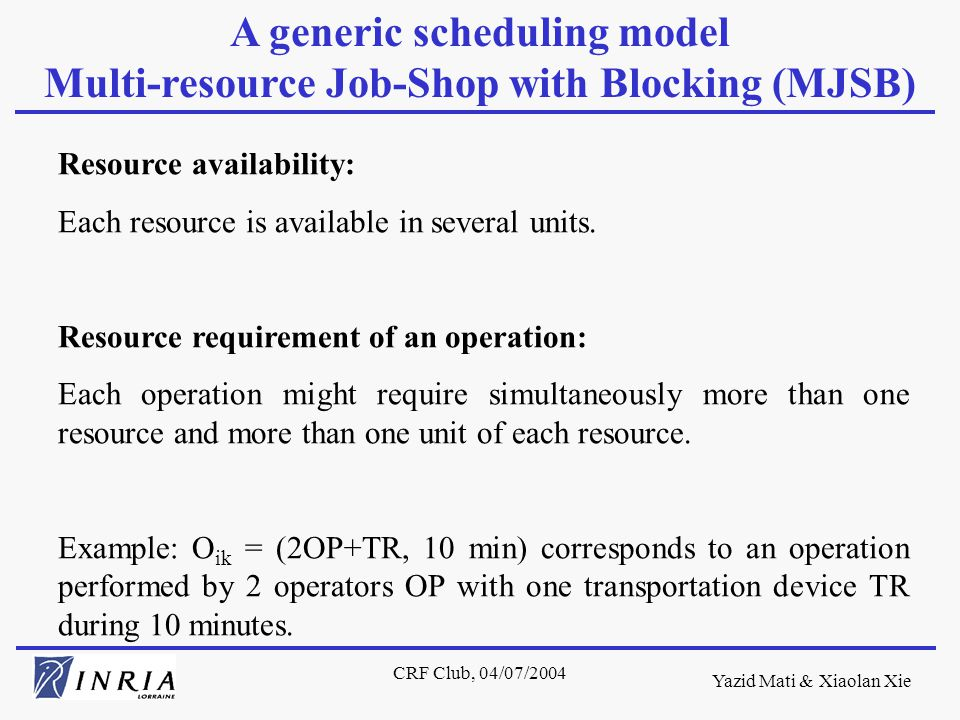 Yazid Mati & Xiaolan Xie CRF Club, 04/07/2004 Resource availability: Each resource is available in several units.