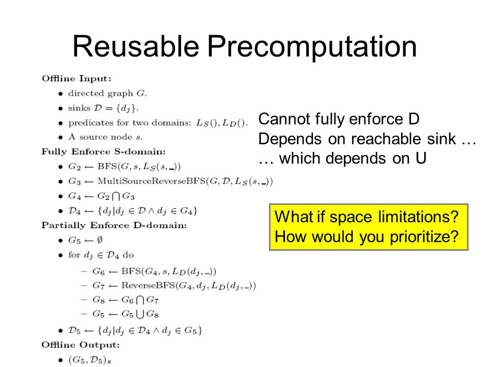 Reusable Precomputation What if space limitations? How would you prioritize? Cannot fully enforce D Depends on reachable sink … … which depends on U