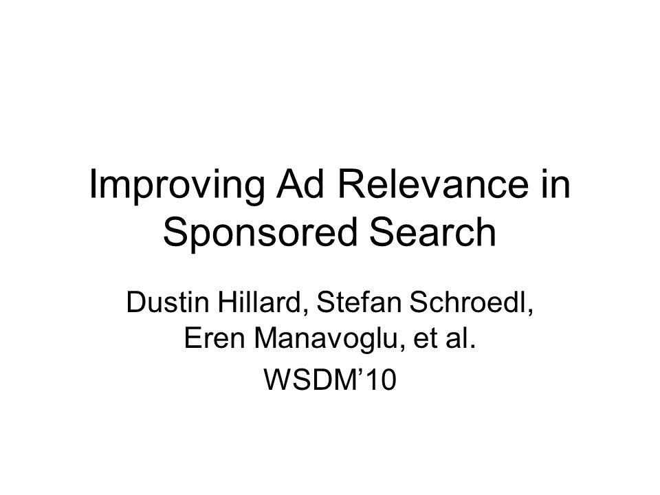 Improving Ad Relevance in Sponsored Search Dustin Hillard, Stefan Schroedl, Eren Manavoglu, et al. WSDM'10