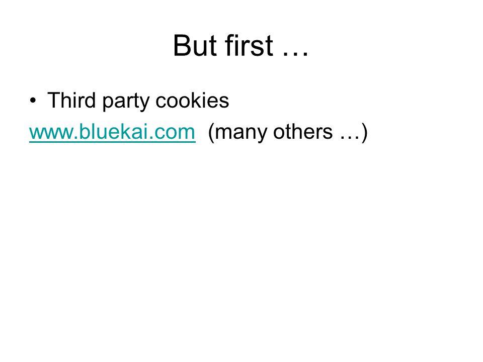 But first … Third party cookies www.bluekai.comwww.bluekai.com (many others …)
