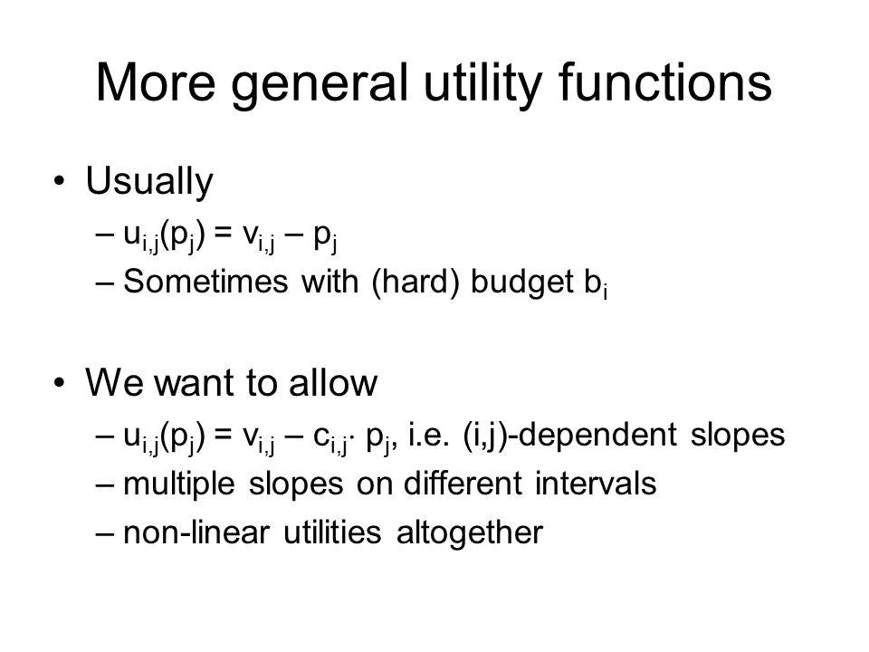 More general utility functions Usually –u i,j (p j ) = v i,j – p j –Sometimes with (hard) budget b i We want to allow –u i,j (p j ) = v i,j – c i,j ¢