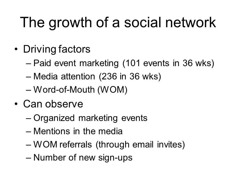 The growth of a social network Driving factors –Paid event marketing (101 events in 36 wks) –Media attention (236 in 36 wks) –Word-of-Mouth (WOM) Can