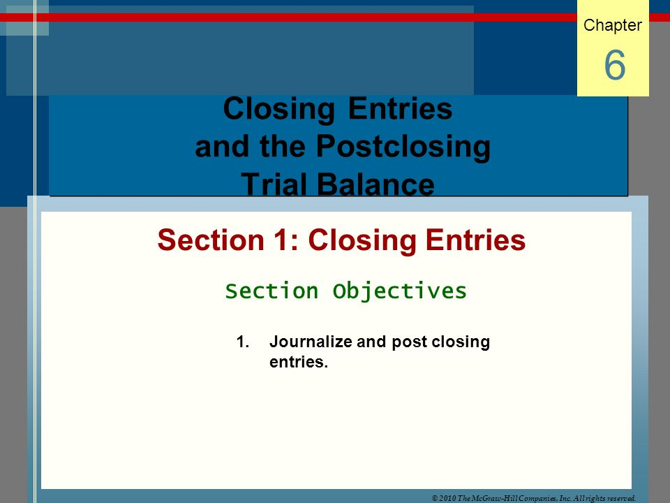 Closing Entries and the Postclosing Trial Balance Section 1: Closing Entries Chapter 6 Section Objectives 1.Journalize and post closing entries. © 201