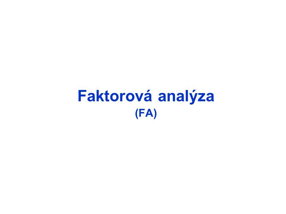 Princípy odhad vychádza z rozkladu variability celkovú variabilitu každého indikátora možno rozložiť na dve zložky komunalita – časť rozptylu indikátora, ktorú je možné vysvetliť pôsobením skrytých faktorov unicita – časť rozptylu indikátora, ktorú možno vysvetliť len pôsobením špecifických faktorov alebo náhody Faktorová analýza D(X j ) = s j 2 = (a j1 2 + a j2 2 + ….