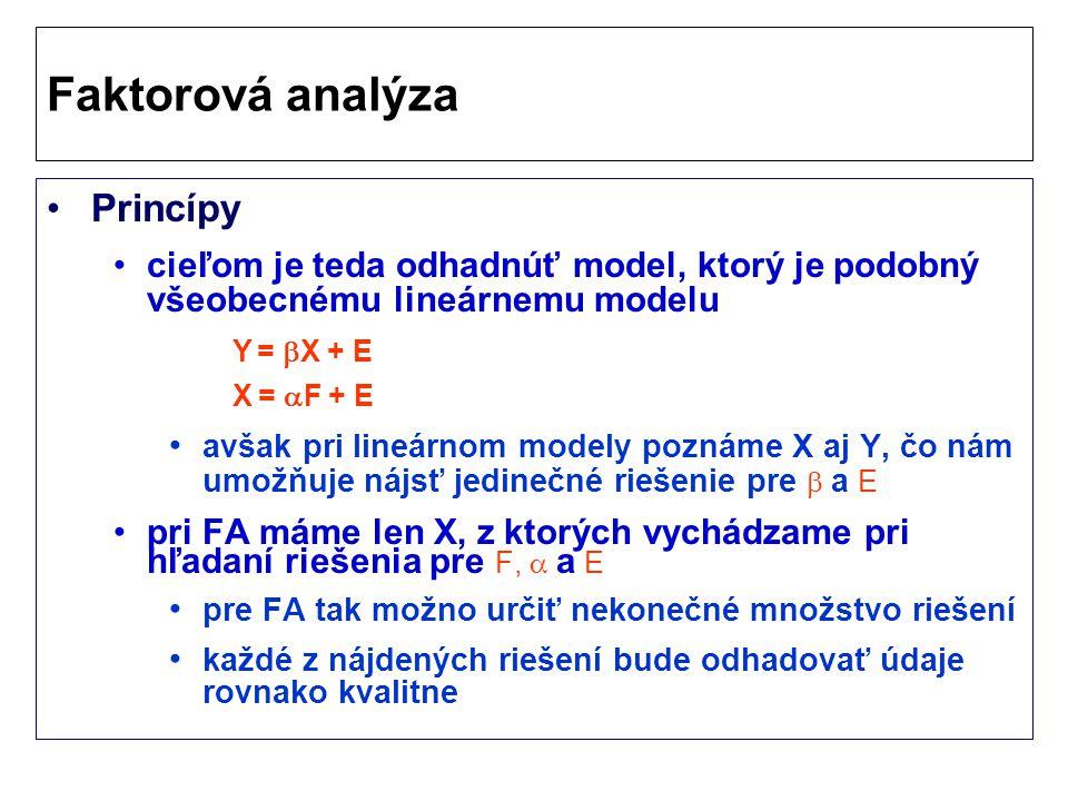 Princípy cieľom je teda odhadnúť model, ktorý je podobný všeobecnému lineárnemu modelu avšak pri lineárnom modely poznáme X aj Y, čo nám umožňuje nájsť jedinečné riešenie pre  a E pri FA máme len X, z ktorých vychádzame pri hľadaní riešenia pre F,  a E pre FA tak možno určiť nekonečné množstvo riešení každé z nájdených riešení bude odhadovať údaje rovnako kvalitne Faktorová analýza Y =  X + E X =  F + E