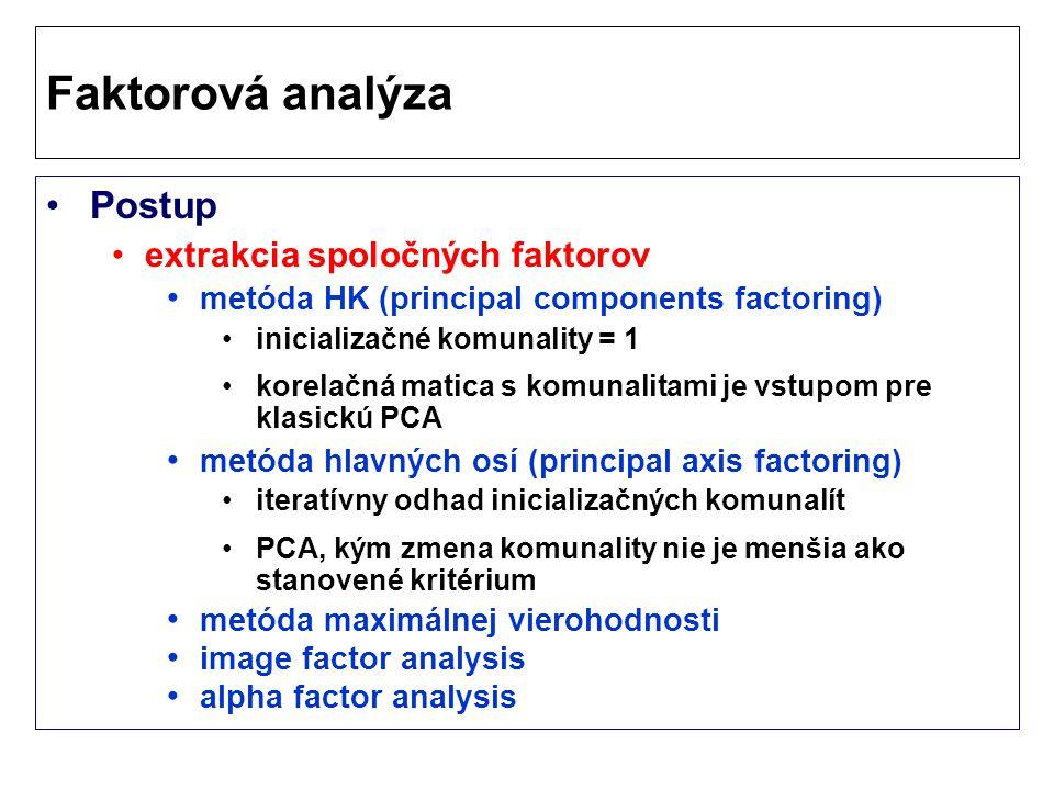 Postup extrakcia spoločných faktorov metóda HK (principal components factoring) inicializačné komunality = 1 korelačná matica s komunalitami je vstupom pre klasickú PCA metóda hlavných osí (principal axis factoring) iteratívny odhad inicializačných komunalít PCA, kým zmena komunality nie je menšia ako stanovené kritérium metóda maximálnej vierohodnosti image factor analysis alpha factor analysis Faktorová analýza
