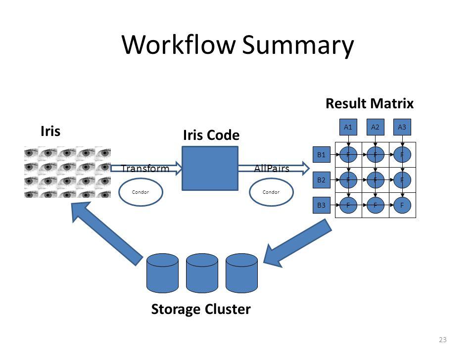 Workflow Summary 23 TransformAllPairs B1 B2 B3 A1A2A3 FFF F FF FF F Condor Iris Iris Code Result Matrix Storage Cluster