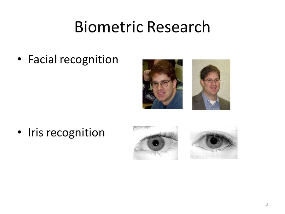 Biometric Research Facial recognition Iris recognition 3