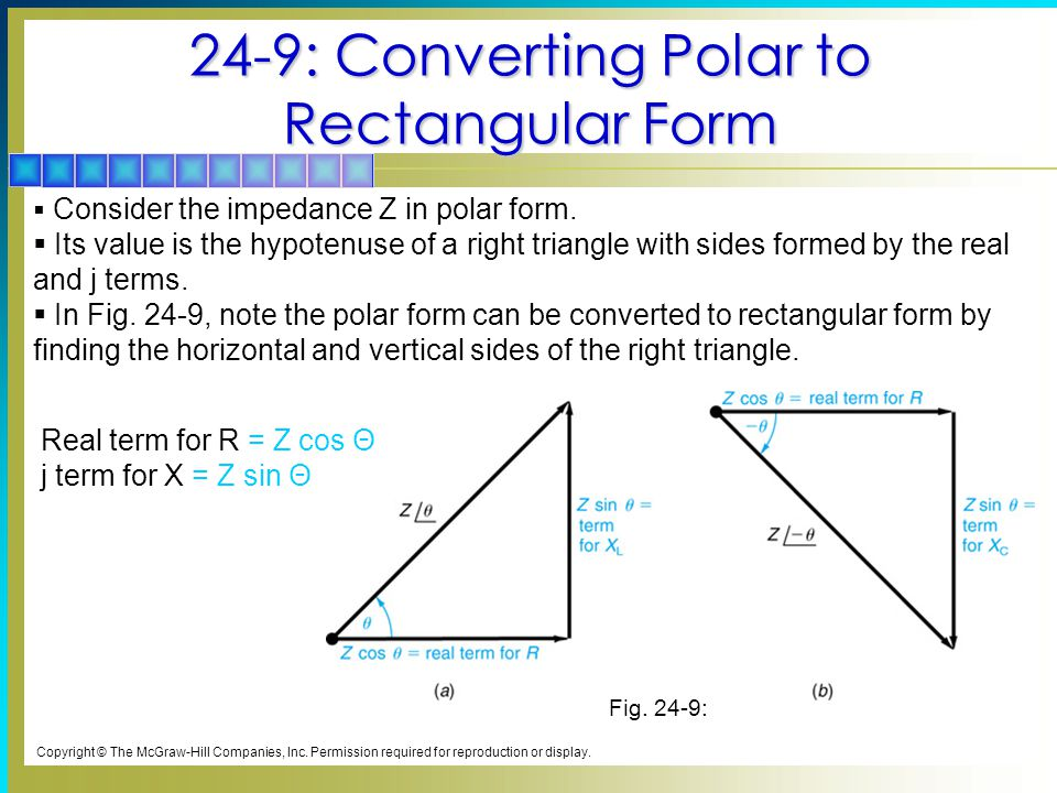 24-9: Converting Polar to Rectangular Form Copyright © The McGraw-Hill Companies, Inc.