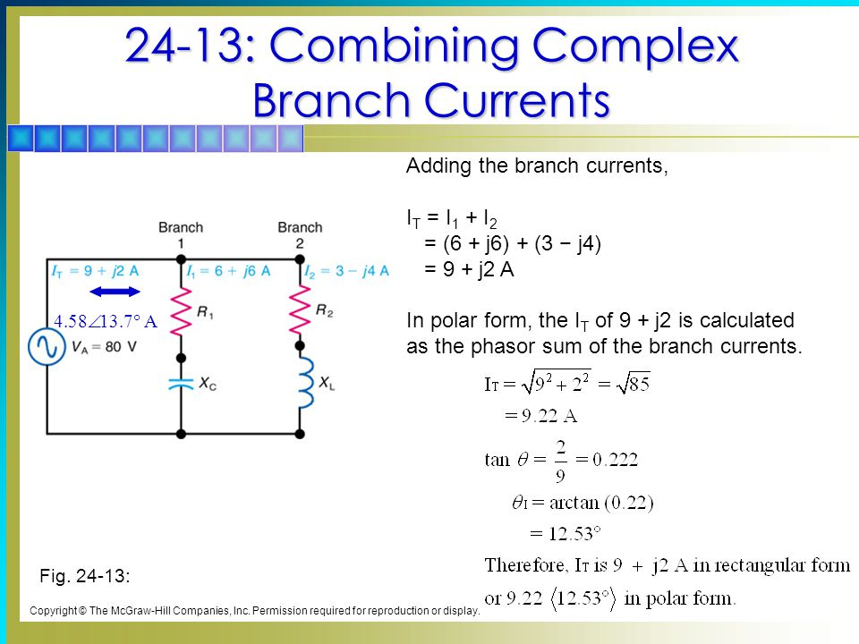 24-13: Combining Complex Branch Currents Copyright © The McGraw-Hill Companies, Inc.