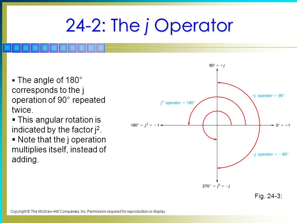 24-8: Polar Form for Complex Numbers Phasors Expressed in Polar Form  Magnitude is followed by the angle.