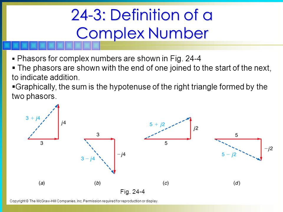 24-3: Definition of a Complex Number Copyright © The McGraw-Hill Companies, Inc.