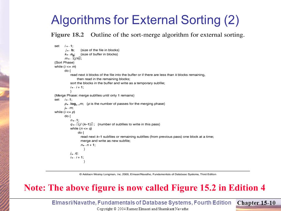 Copyright © 2004 Ramez Elmasri and Shamkant Navathe Elmasri/Navathe, Fundamentals of Database Systems, Fourth Edition Chapter Algorithms for External Sorting (2) Note: The above figure is now called Figure 15.2 in Edition 4