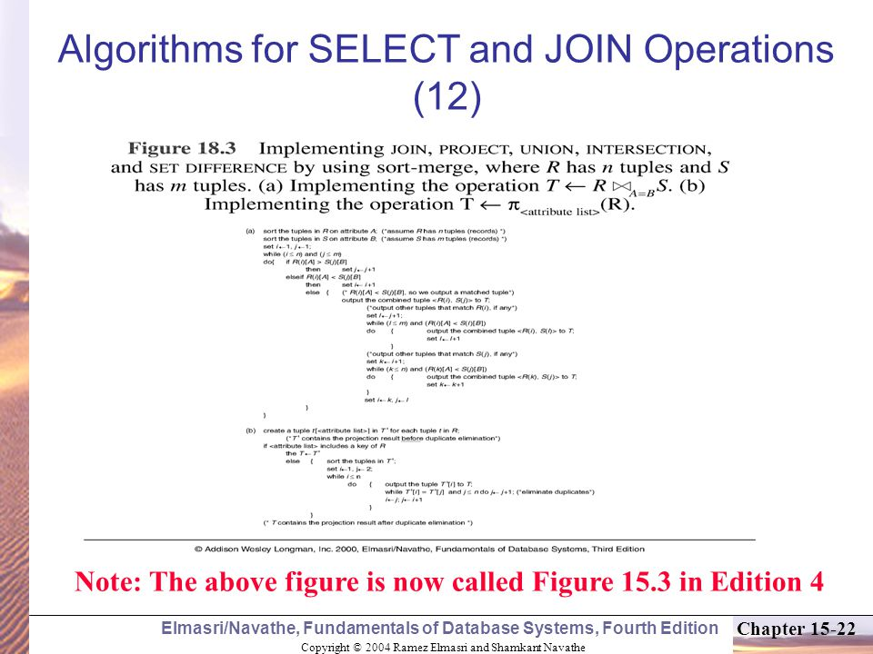 Copyright © 2004 Ramez Elmasri and Shamkant Navathe Elmasri/Navathe, Fundamentals of Database Systems, Fourth Edition Chapter Algorithms for SELECT and JOIN Operations (12) Note: The above figure is now called Figure 15.3 in Edition 4