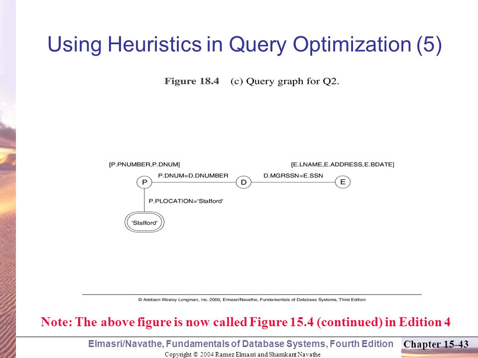 Copyright © 2004 Ramez Elmasri and Shamkant Navathe Elmasri/Navathe, Fundamentals of Database Systems, Fourth Edition Chapter Using Heuristics in Query Optimization (5) Note: The above figure is now called Figure 15.4 (continued) in Edition 4