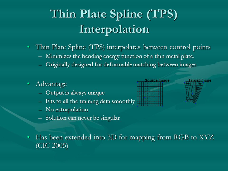 Thin Plate Spline (TPS) Interpolation Thin Plate Spline (TPS) interpolates between control pointsThin Plate Spline (TPS) interpolates between control points –Minimizes the bending energy function of a thin metal plate.