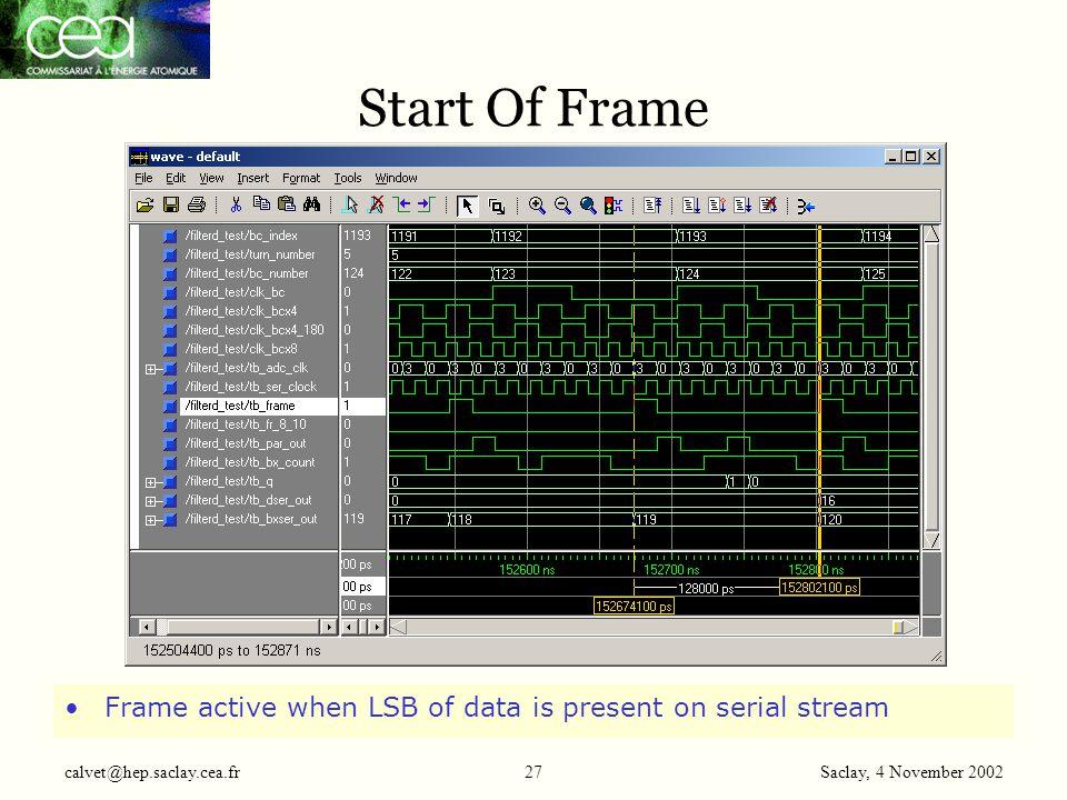 Saclay, 4 November 2002 calvet@hep.saclay.cea.fr27 Start Of Frame Frame active when LSB of data is present on serial stream