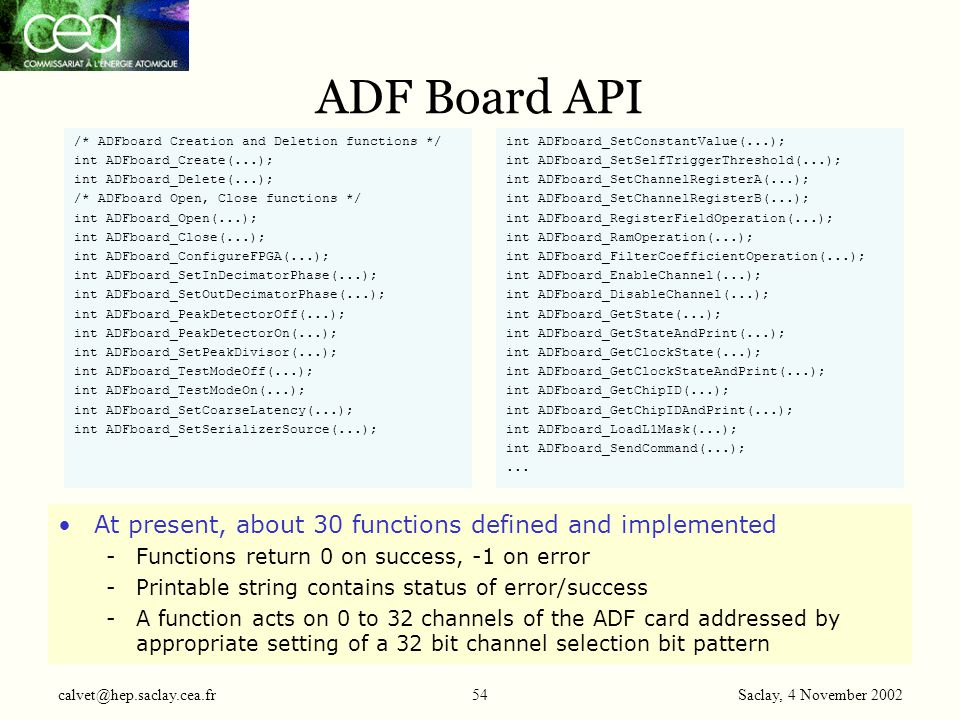 Saclay, 4 November 2002 calvet@hep.saclay.cea.fr54 ADF Board API /* ADFboard Creation and Deletion functions */ int ADFboard_Create(...); int ADFboard