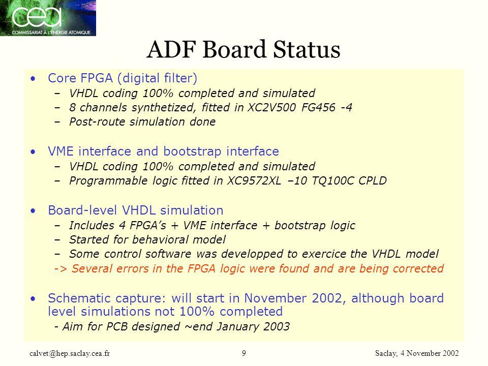 Saclay, 4 November 2002 calvet@hep.saclay.cea.fr10 Channel Link serializer ADF board Block Diagram FPGA #1 Channel(8-15) Channel Link serializer CLK VME interface JTAG ADCs FPGA #0 Channel(0-7) FPGA #2 Channel(16-23) FPGA #3 Channel(24-31) FPGA Programmation Interface Channel Link serializer Config.