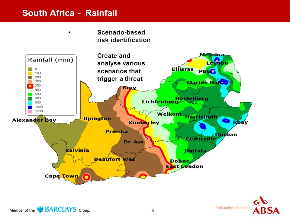 9 South Africa - Rainfall Scenario-based risk identification Create and analyse various scenarios that trigger a threat Probability of rainfall