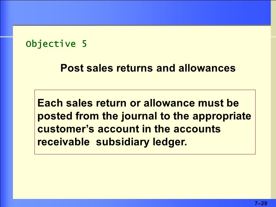 7–29 Each sales return or allowance must be posted from the journal to the appropriate customer's account in the accounts receivable subsidiary ledger.