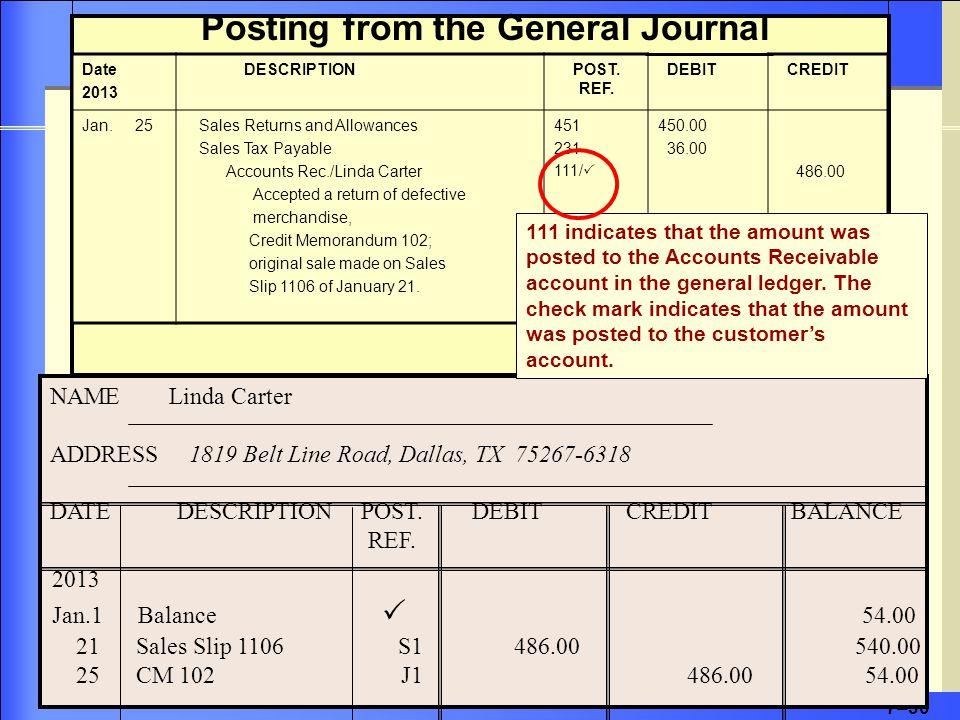 7–30 Date 2013 DESCRIPTIONPOST. REF. DEBIT CREDIT Jan.