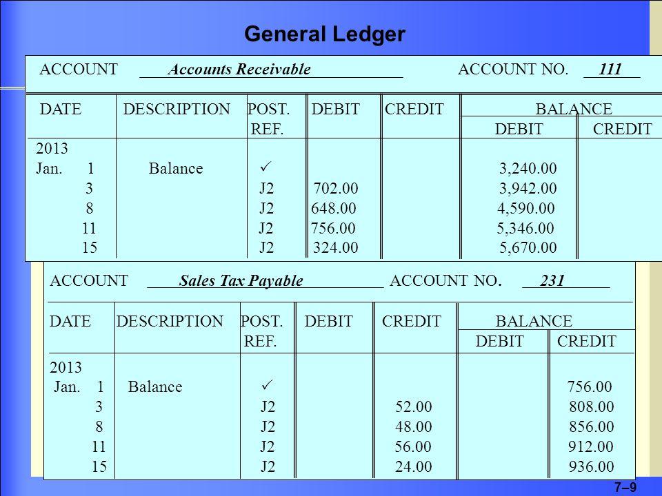 7–9 ACCOUNT Accounts Receivable ACCOUNT NO. 111 DATE DESCRIPTION POST.