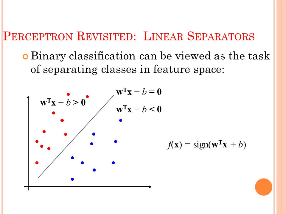 P ERCEPTRON R EVISITED : L INEAR S EPARATORS Binary classification can be viewed as the task of separating classes in feature space: w T x + b = 0 w T x + b < 0 w T x + b > 0 f(x) = sign(w T x + b)