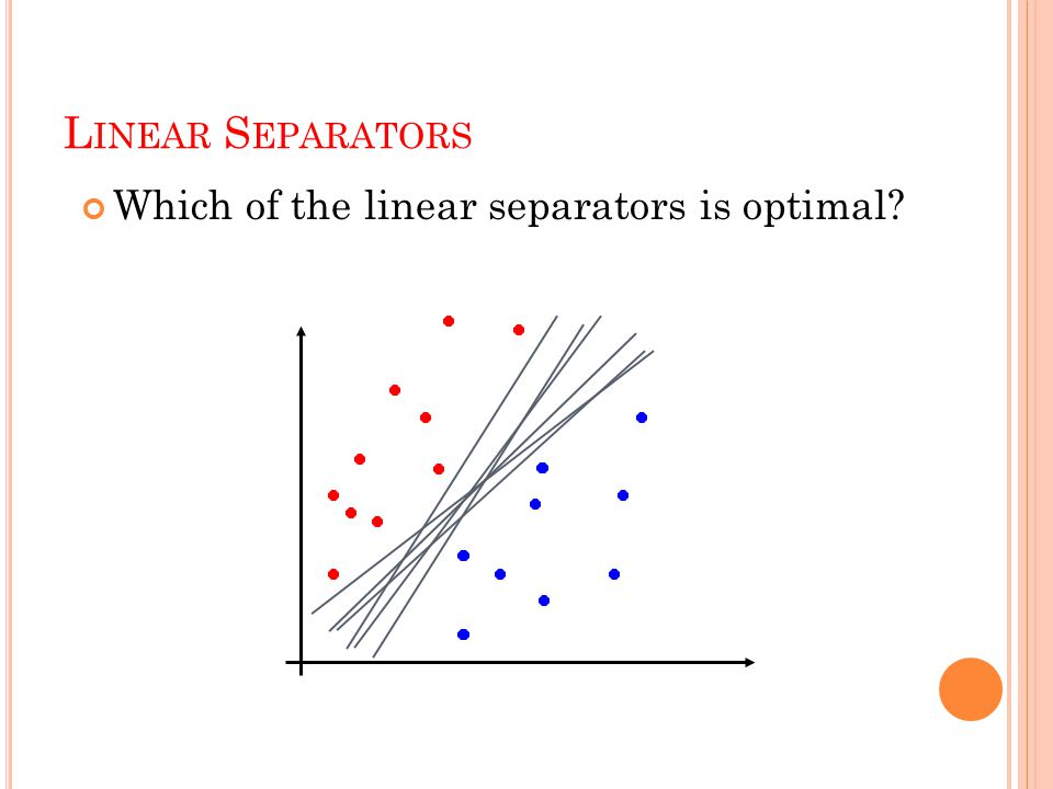 L INEAR S EPARATORS Which of the linear separators is optimal?
